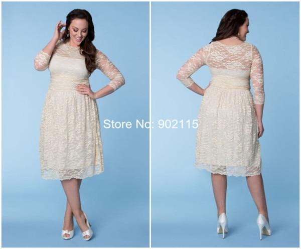Tea Length Plus Size Short Lace Wedding Dresses For Fat Woman With