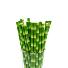 25 Stks/partij Bamboe Papier Rietjes Jungle Party Gelukkige Verjaardag Decoratieve Event Tropische Feestartikelen Groene Rietje