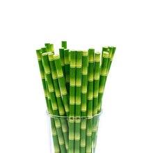 Pajitas de papel de bambú para jungla, 25 unidades por lote, fiesta de cumpleaños, evento decorativo, Tropical, suministros para fiesta, paja verde
