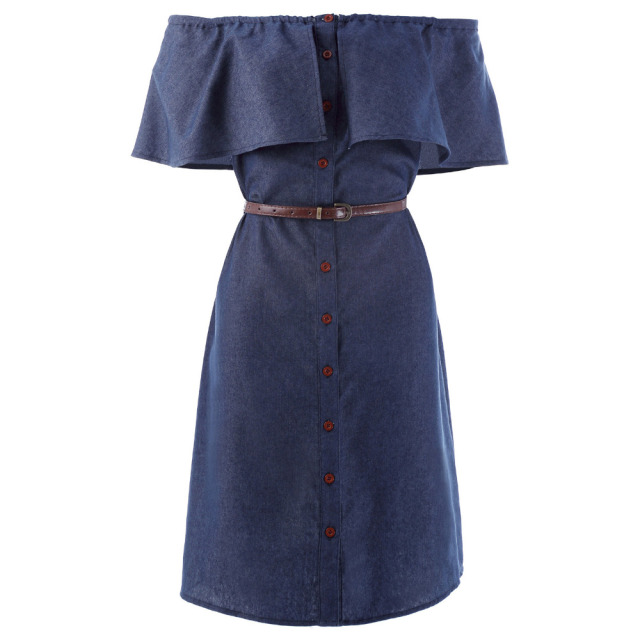 New Rereo Vintage 1940s Women Denim Shirt Dress Off Shoulder Ruffles ...