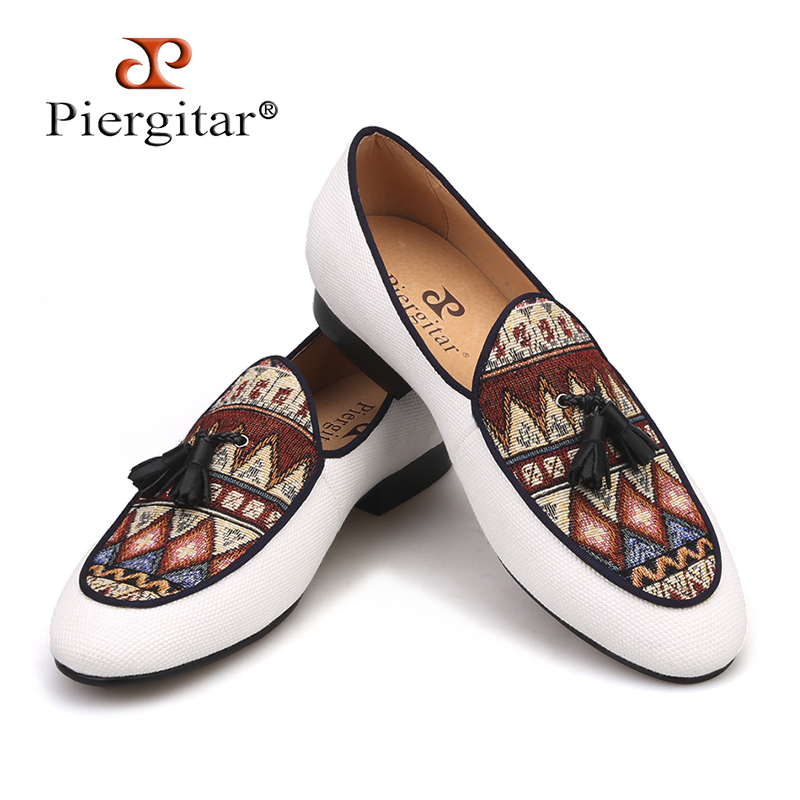 Piergitar Brand 2019 Handmade Cotton Canvas Of Paisley Pattern Men Loafers Fashion Party And Wedding Men Tassel Shoes Plus Size