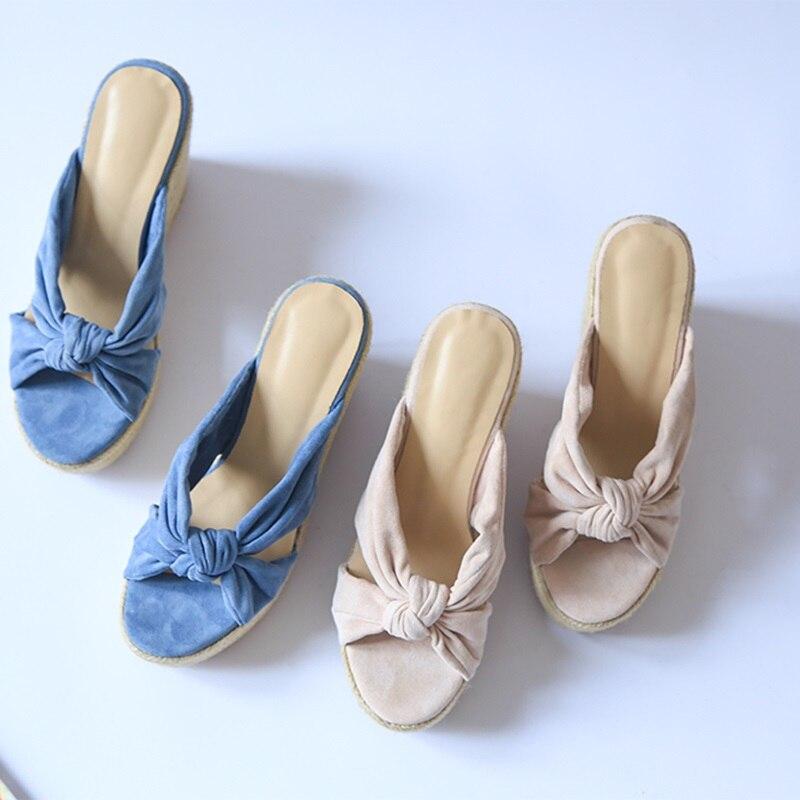ZVQ chaussures femme 2019 été nouvelle mode super haute compensées plate forme troupeau femme pantoufles à l'extérieur bout ouvert dames chaussures taille 34 39-in Pantoufles from Chaussures    3