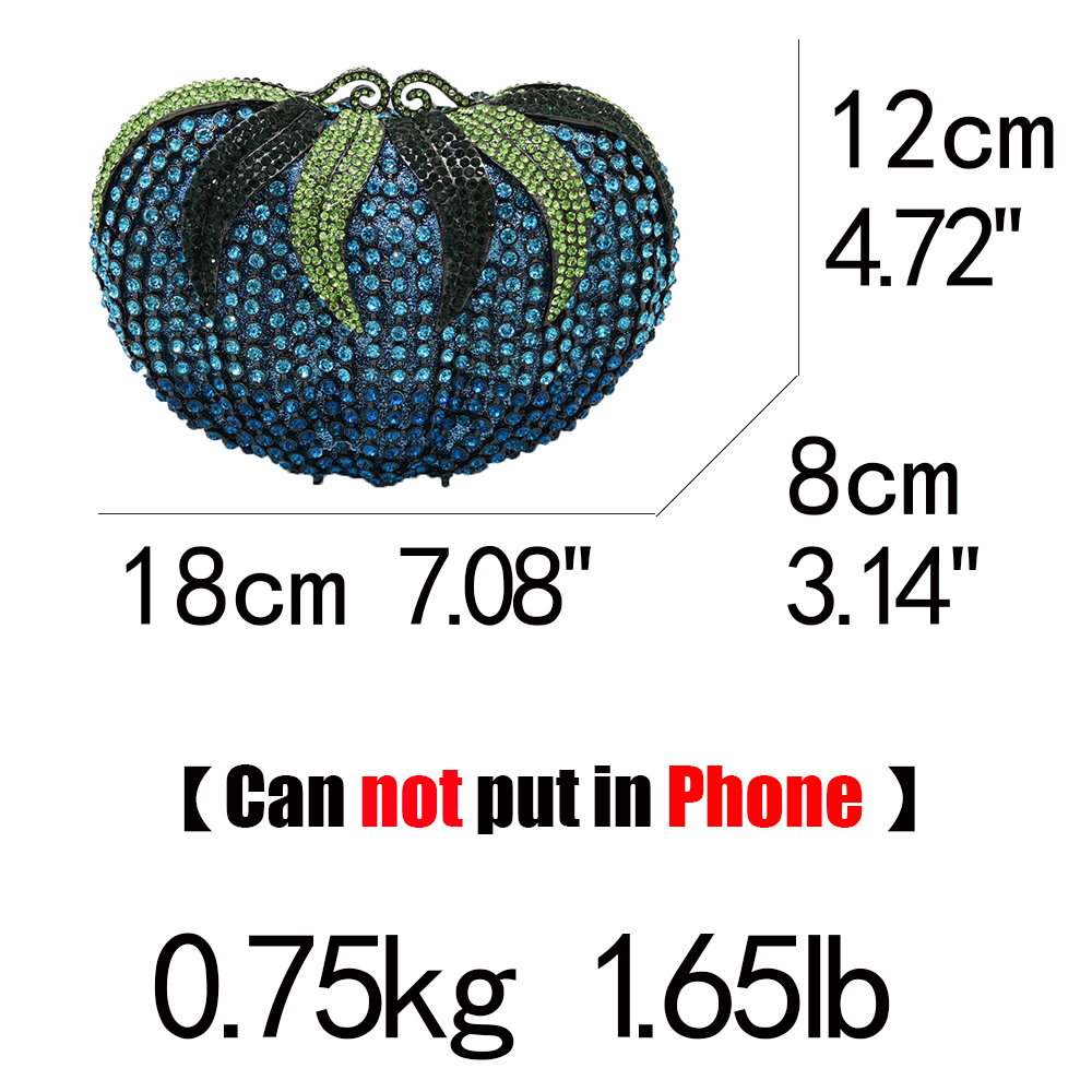 Boutique De FGG Women Diamond Strawberry Evening Clutch Bag Gala Dinner Metal Minaudiere Handbags and Purses Bridal Crystal Bags