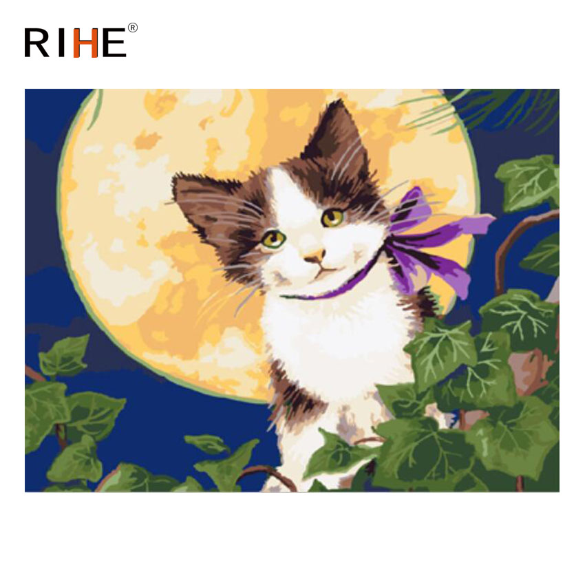 RIHE Cat Moon Diy Painting By Numbers Animal Oil On Canvas Hand Painted Cuadros Decoracion Acrylic Paint Home Decor