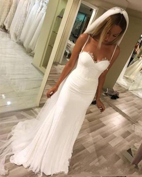 Long Spaghetti Straps Beach Mermaid Wedding Dress With Sleeveless Floor Length Boho Bridal Dress Wedding Gown Custom Made in Wedding Dresses from Weddings Events