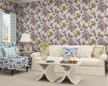 beibehang papel de parede allpaper American pastoral flowers non - woven wallpaper 3d three dimensional precision walls paper