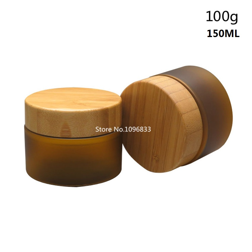 10pcs Refillable Frosted Plastic Cosmetics Bottle Jar With Bamboo Lid Cream Lotion Cosmetic Container Jar Big Botella 100g 150ml