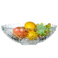 Household Large Fruit Plate Thickening Glass Crystal Plate Fashion Brief Beads Fruit Plate Decoration Fruit Fight