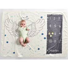 152X102cm Baby Milestone Blanket Angel Wings Photography Prop Flannel Monthly Background Blankets In