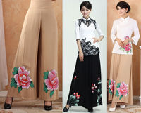 Free Shipping Chinese Tradition Women's Hand Painting Flares Trousers Pants S M L XL XXL