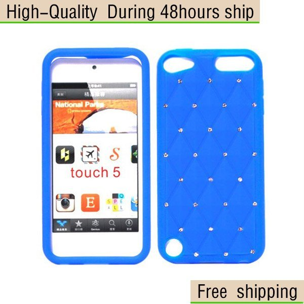 1pcs New Silicone Diamond Case Cover Shell For Apple ipod Touch 5 5G 5th Free Shipping