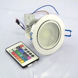 Image 1 - 10W Farbe AC85V 265V Ändern Remote Einbau Schrank RGB LED Lampe Decke Scheinwerfer DownLight bunte led Licht Für home zimmer