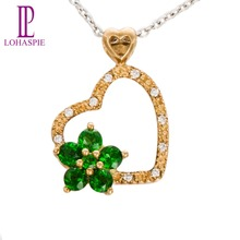 Lohaspie Natural Chrome Diopside & Diamond 9k Yellow Gold Romantic Pendant & Necklace Gemstone Fine Jewelry For Women Gift
