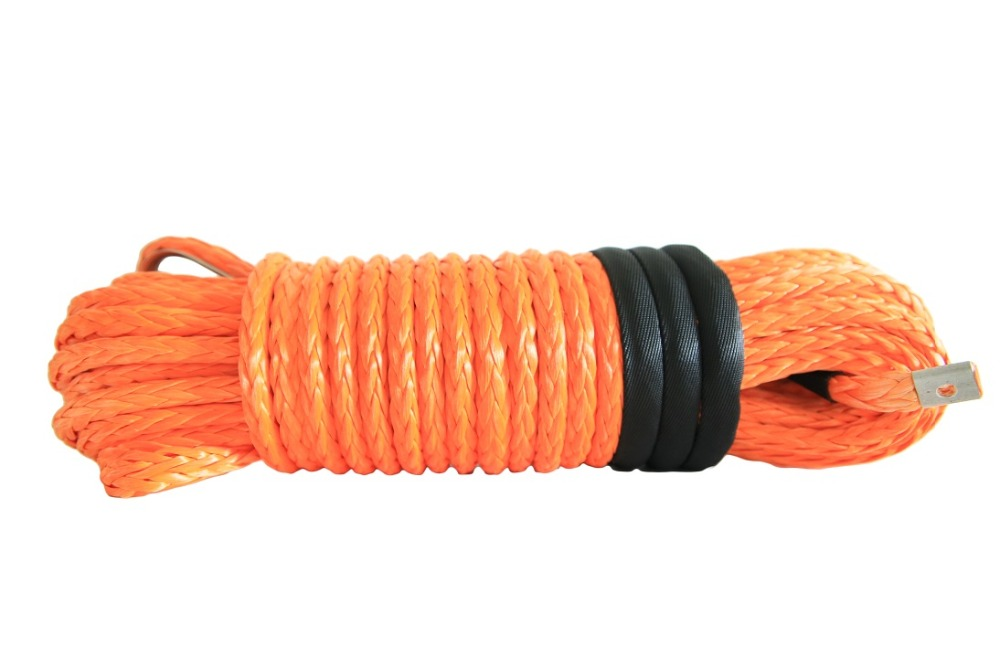 Orange 3//8 /×50ft Winch Rope Extension,10mm Synthetic Rope,Heavy Duty Vehicle Winch Cable for Truck ATV UTV SUV Orange