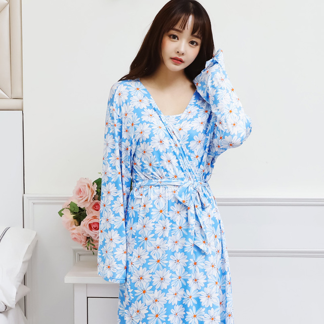 Spring and summer paragraph thin paragraph large yards robe two piece suit Floral sweet lovely sling sexy home home pajamas