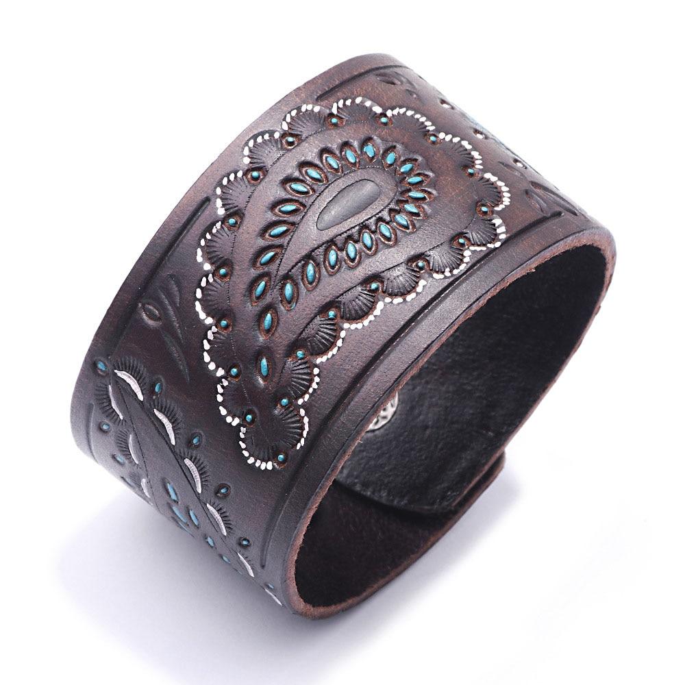 Kirykle hommes marron noir Vintage en cuir véritable bracelets large Bracelet en cuir pour les femmes Bracelet en forme de cellule Punk bijoux à breloques 2
