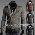 Free shipping The new han edition men's cultivate one's morality men's leather jacket Men's leather
