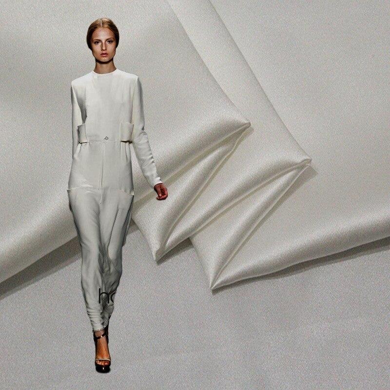 30 mm 114 cm de large Rare épais 100% mûrier soie Satin tissu blanc cassé couleur 129 gsm robe formelle tissu 10 mètres en vente