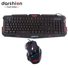 Russian keyboard mouse combo Backlit LED gaming led 3color fingerboard +Colorful gaming mouse breathing light  7 buttons 3600DPI