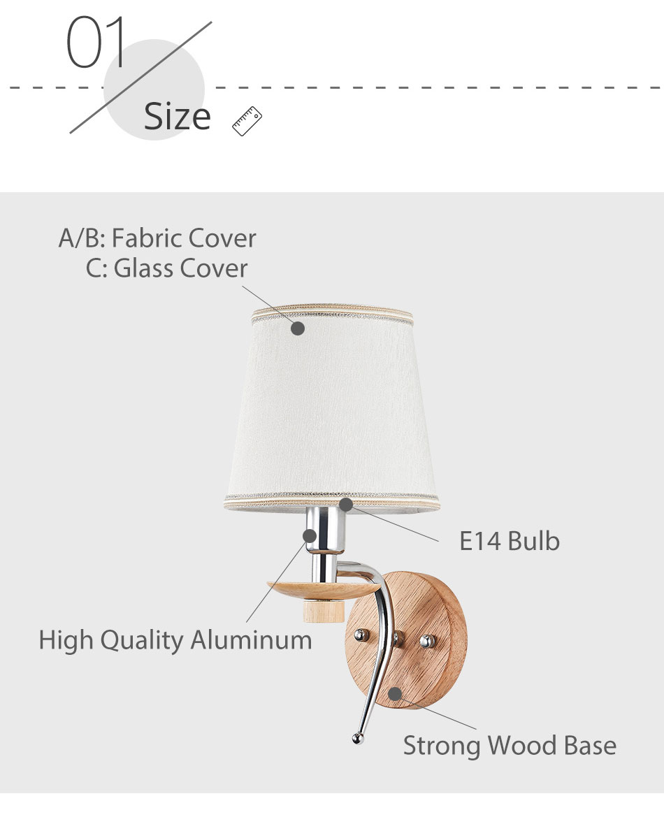 LED Bedside Wall Lamp E14 Bulb Fixtures Wood Aluminum Reading Light Fabric Glass wall Sconce Living Room Bedroom Indoor Lighting (6)
