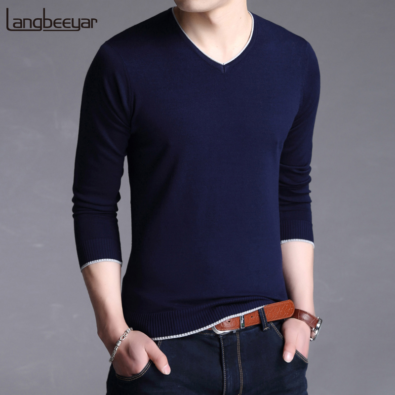2019 New Fashion Brand Sweater For Mens Pullovers V Neck Slim Fit Jumpers Knitwear Warm Winter Korean Style Casual Clothing Men
