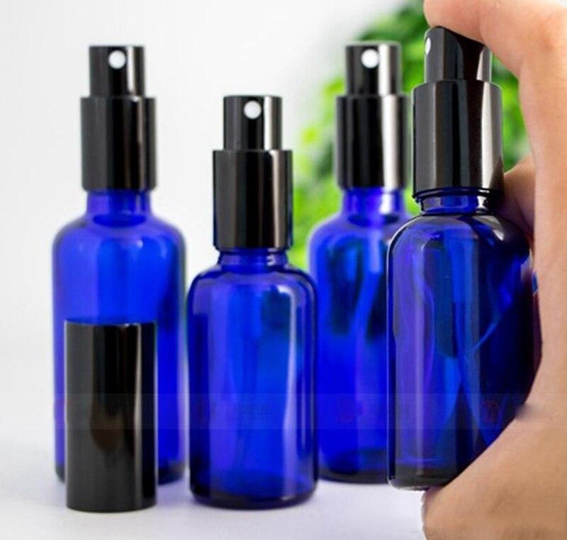 10ml 15ml 30ml 50ml 100ml Blu Bottiglie di Oli Essenziali Bottiglia di Vetro Dello Spruzzo di Vetro Con Il Nero pompa di Spruzzatore Cap Per Profumo Cosmetico