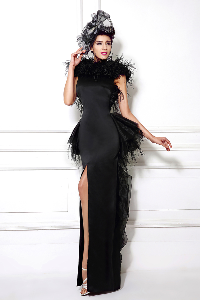 Black feathered couture dress