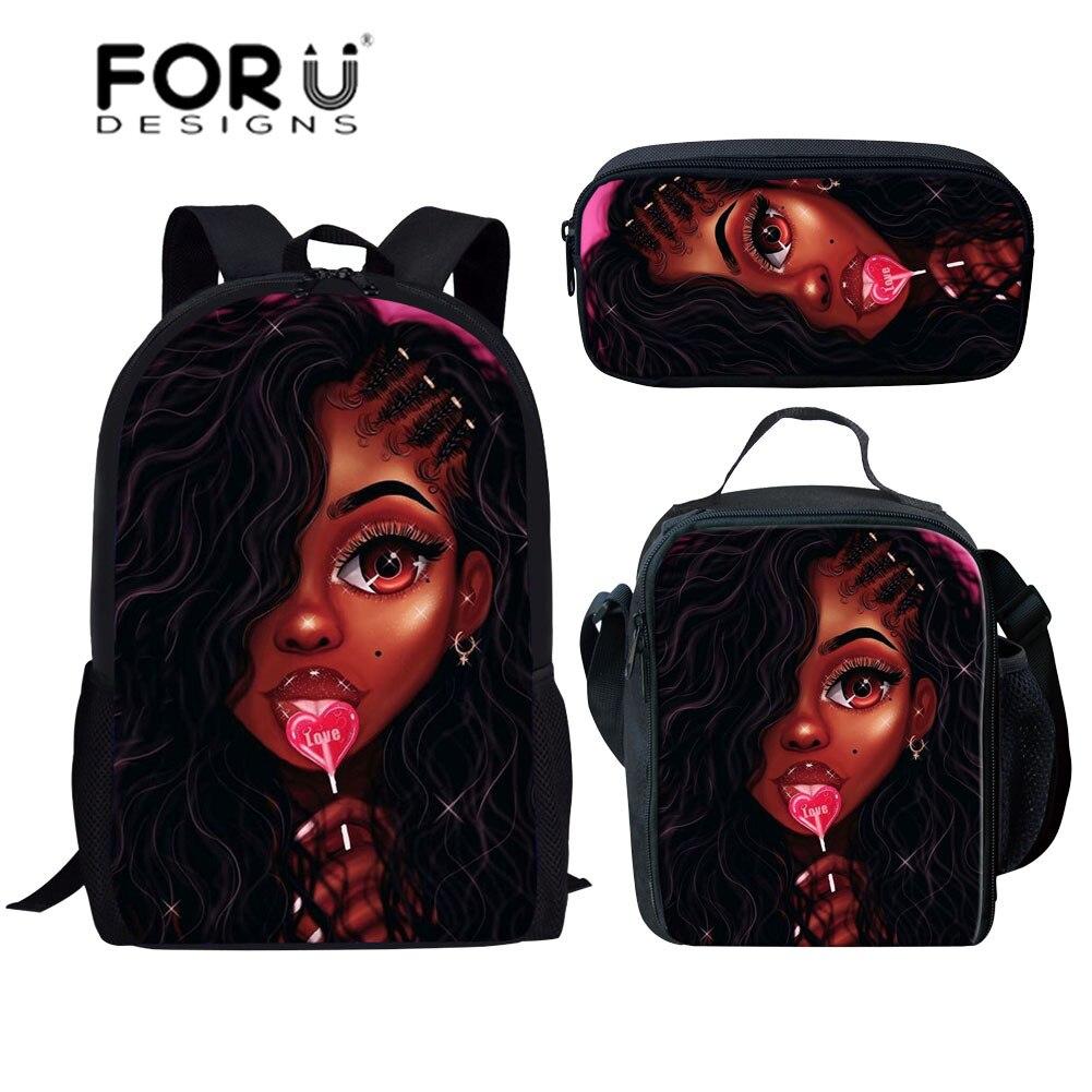 FORUDESIGNS Kids School Bag For Children Black Art Afro Girls School Backpack Students 3pcs/set Shoulder Bookbag Mochila Escolar