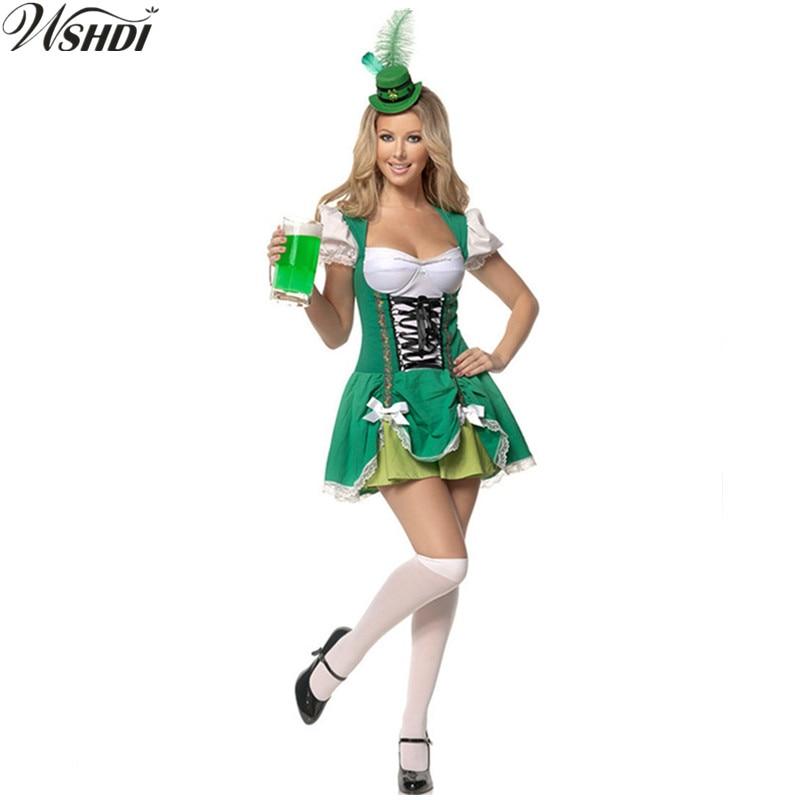 Adult Green Beer Maid Costume Beer Girl Wench Costume German Oktoberfest Dirndl Uniform Cosplay Halloween Fancy Dress