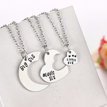 1Pcs/Set Cute 3 Puzzle Parts Big Sister Middle Sister Little Sister Best Sister Pendant Necklace Family Jewelry(China)
