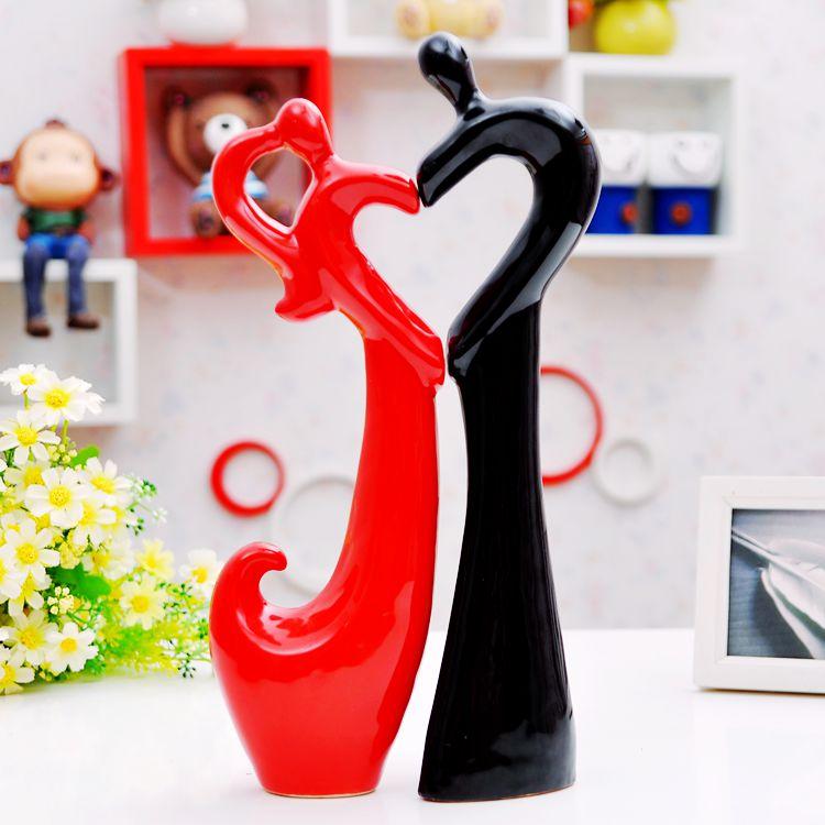 Amantes del corazón de cerámica decoración del hogar artesanías - Decoración del hogar