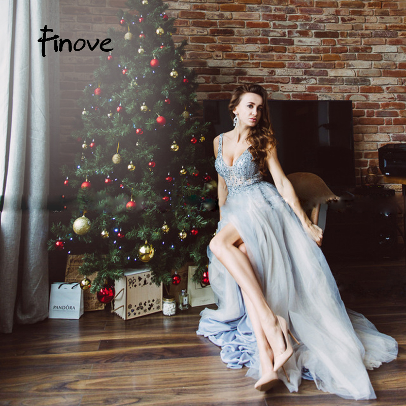 Finove 2019 Prom Dress New Design Sexy Light Illusion Tulle Beading V Neck Sleeveless Elegant A