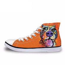 NOISYDESIGNS Men's High Top Canvas Shoes Cute Art 3D Dog Animal Cat Printed Vulcanize Shoes Male Student Comfortable Flat Shoes
