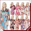 FR0009 Floral Robes De Seda De Cetim Mulheres Kimono Robe de Casamento Nupcial Da Dama de Honra Lady Spa Robe Noite Vestido Frete Grátis