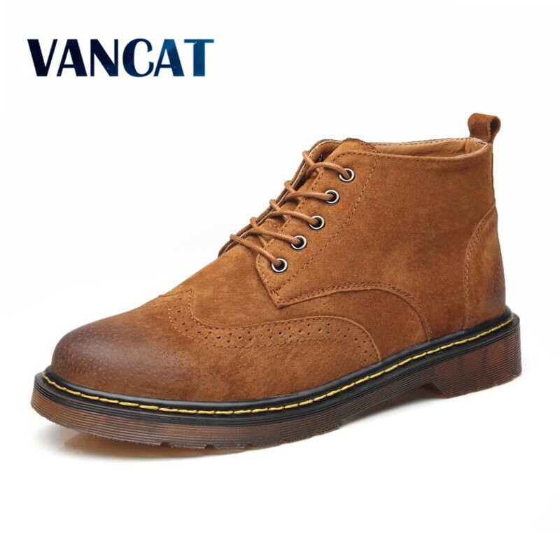 VANCAT Big Size 100% Genuine Leather Men Ankle Boots Fashion Spring/Autumn Waterproof  Mens shoes Lace Up Casual New Short Boot