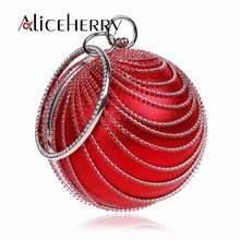 Women Diamonds Ball Evening Bags Ring Round Shaped Clutch Purse Clutches Chain Shoulder Handbags Wedding Dress Bag