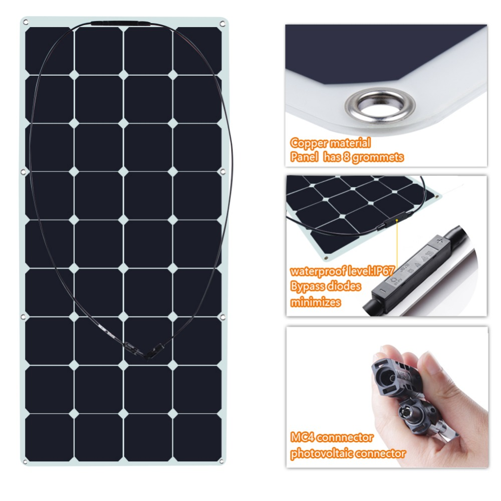 120 Watt 18 Volt Monocrystalline Sunpower Semi Flexible Solar Panel Bendable folding Solar panel charger with MC4 connector chic heart shape alloy frame ombre sunglasses for women