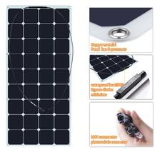 120 Watt 18 Volt Monocrystalline Sunpower Semi Flexible Solar Panel Bendable folding Solar panel charger with MC4 connector