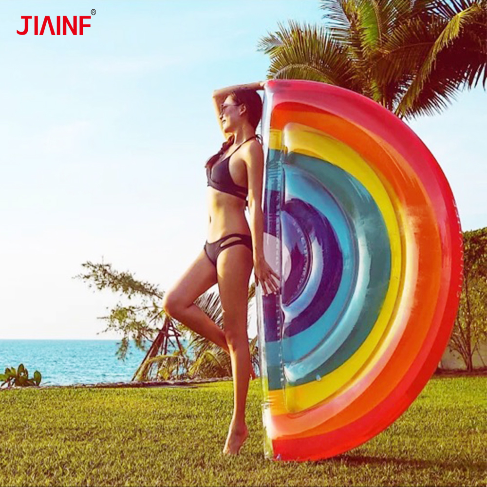 JIAINF 2018 Latest Beach Party Inflatable Type Rainbow Pool Float For Adult/Women/Kids Cloud Shape Inflatable Floating Bed
