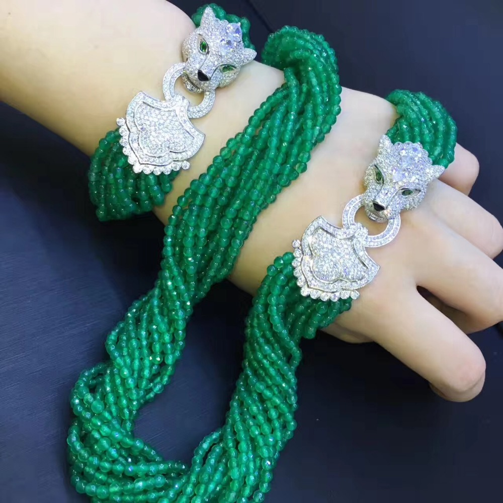 Green color natural semi-precious stone jewelry set necklace and bracelet 925 sterling silver with cubic zircon lepoard lock red color natural semi precious stone necklace multi layers 925 sterling silver with cubic zircon and fresh water pearl fashion
