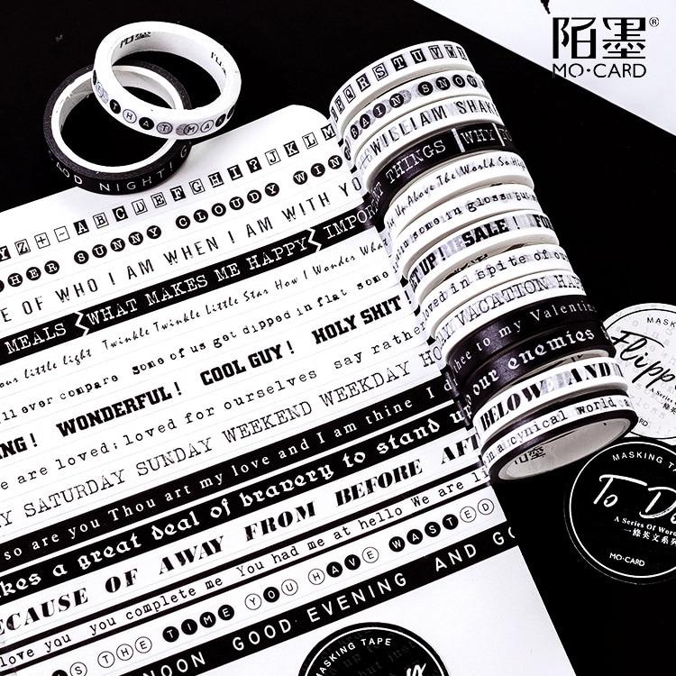 English Slogan Washi Tape Masking Diy Scrapbooking Stick Label Decor Sticky Paper Tape School Office Supply