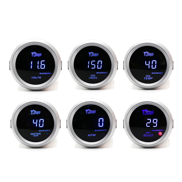 "2""/52mm DIGITAL Car Boost Gauge/Water Temp/Oil temp/Oil press/Voltmeter/Tachometer RPM Gauge/Car Meter with sensor White case"