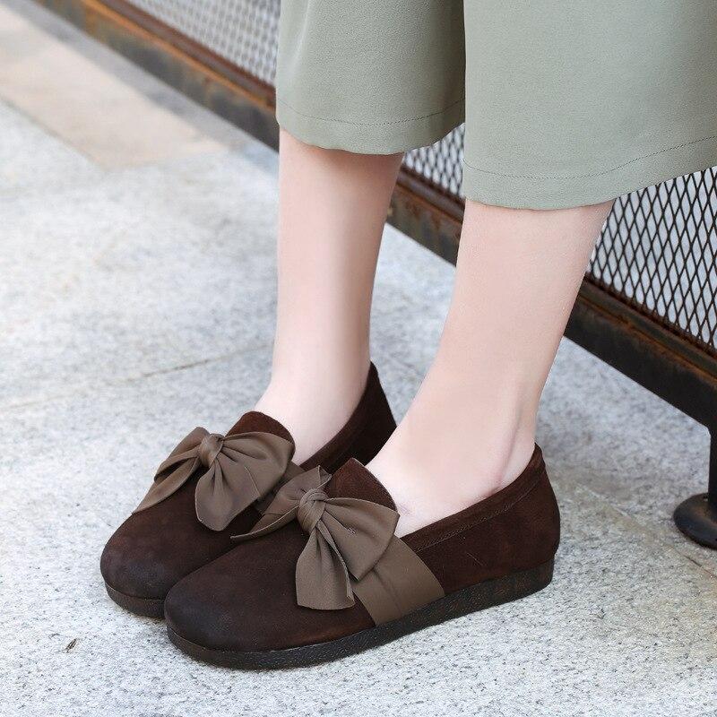 Printemps Plats Rétro Bas 2019 Mocassin Coffee Cuir brown Talons Chaussures Femmes Bowknot À La Marque Véritable Fond Main En Mou Mocassins 5qxxw48