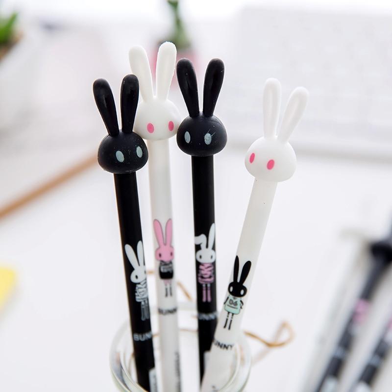 4Pcs/Lot Creative Cartoon Rabbit Gel Pen Anime Kawai Stationery Store Escritorio Stationary School Tool Material Thing Item Shop