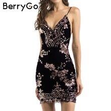 BerryGo Sexy strap backless mini dress women V neck sequin party christmas dresses vestidos autumn skinny vintage short dress