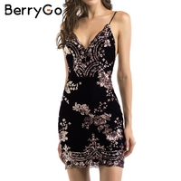 BerryGo Sexy strap backless mini robe femmes V neck sequin partie de noël robes robes automne skinny vintage robe courte