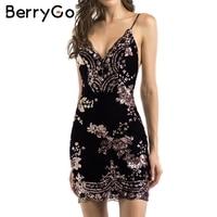 BerryGo Sexy Club Stap Blackless Mini Dress Women V Neck Sequin Party Dresses Vestidos 2017 Autumn