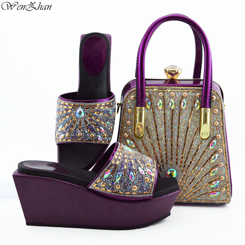 Purple Shoes and Matching Bag Set With Rhonstones Wonderful Italian Matching Shoes and Bags for lady Party 38-42 WENZHAN B95-22Purple Shoes and Matching Bag Set With Rhonstones Wonderful Italian Matching Shoes and Bags for lady Party 38-42 WENZHAN B95-22