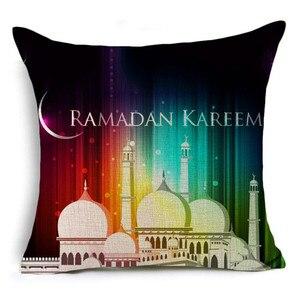 Image 5 - הרמדאן קישוט כרית כיסוי הרמדאן קארים מבורך עיד מובארק ירח מסגד פשתן דקורטיבי כריות ספה 40253