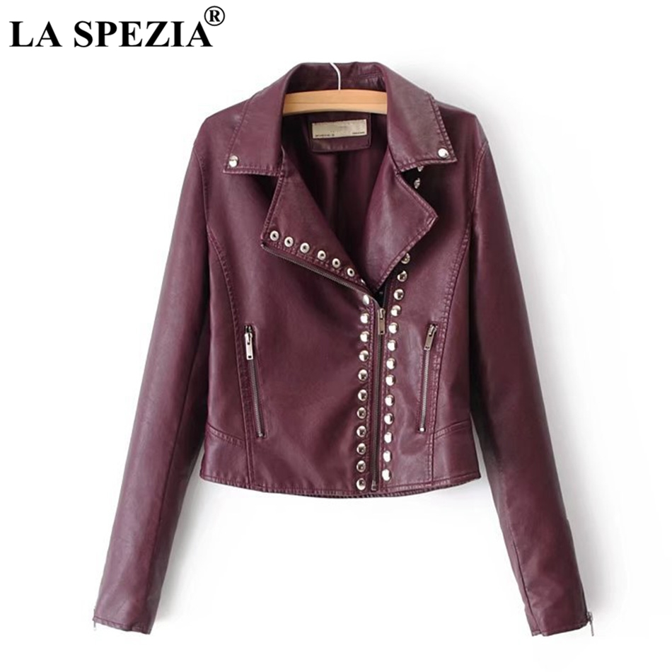LA SPEZIA Brand Motorcycle Jacket Women Burgundy Leather Jackets Ladies Zipper Pockets Rivets Short Biker Classic Autumn Coats leather jacket